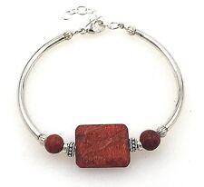 """Estate .925 Sterling Silver & Sponge Coral Decorative Bangle Bracelet 6.5""""-7.75"""""""