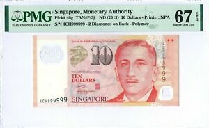 Singapore 10 Dollars P48g 2013 PMG 67 EPQ Solid serial number 4CH999999 Polymer
