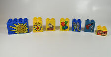 Lego Duplo Picture Patterns LOT OF 7 sun monkey balloons fish tools mail bricks
