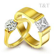 BRILLANT T&T 14K Gold GP Stainless Steel Wedding Band Ring For Couple