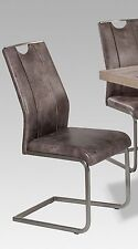 R5189-26 / 6 Freischwinger=Set Stuhl Stoff Vintage Hell-Braun Edelstahl