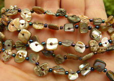 "Paua Abalone Shell Beads/Necklace 36""  All Natural"