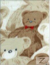 "BEAR PRINT POLAR FLEECE FABRIC-Brown Bear-36""X60"" SOLD BTY  49"