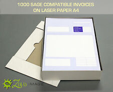 1000 SAGE COMPATIBLE INVOICE ON LASER PAPER A4 210 x 297mm