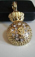 Designer Gold Finish Hip Hop Bling rapper style $ Sign Money Bag Fashion Pendant