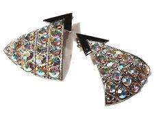 Bijou alliage argenté boucles d'oreilles Zoé Coste triangle cristal multicolore