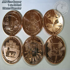 """""""Safety in Numbers Series""""    6 Copper Round Series   1 oz .999 Copper Rounds"""