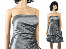 NWT Strapless Gown Sz 8 Short Silver Steel Gray Cocktail Prom Dress Bubble Hem