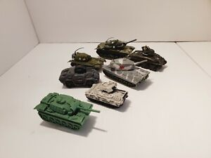 Lot Of Mix 6 Small Die Cast Tanks US Army Unimax King Tiger Matchbox T412 M60A1