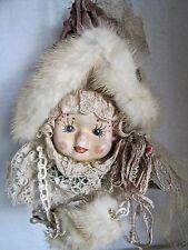 Elegant Fancy Dressed Lady In Lace, Faux Mink Hat & Muff Ornament