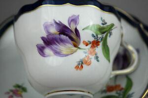 Meissen Porzellan Kaffeegedeckt 3Tlg Kobalt Blau Tasse Blumen NEU  NR.4