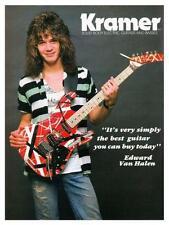 Van Halen  *LARGE POSTER* Eddie model strat KRAMER Guitar AD - AMAZING EARLY PIC