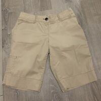 White House Black Market Womens Shorts Sz 8 Tan Cargo Bermuda Walking WP40