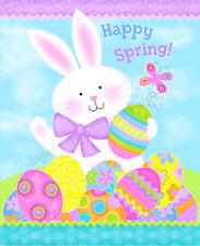"Easter Bunny Rabbit Eggs Cotton Fabric StudioE Spring WEAVE FLAW 35""X44"" Panel"