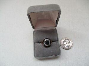 10K Yellow Gold Blue Sapphire Ring w/Small Diamonds & Sapphires Size 6.5