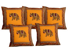 5 Piece Mandala Elephant Embroidered Emperor Yellow Cotton Pillow Cushion Covers