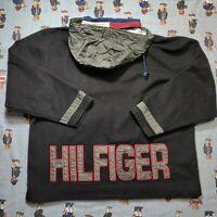 VTG Tommy Hilfiger Outdoors Big Spell Out Black Fleece Pullover Jacket XL Hood