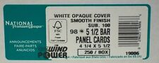 Nib (250) 5.5 Bar Panel Card White Opaque Cover Smooth Finish 4 1/4 x 5 1/2