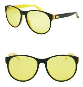 GUCCI GG0271S 005 55mm Round Sunglasses Black / Yellow - Made in Italy