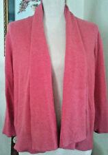 Eileen Fisher Womens Medium Open Cardigan Pink 100% Organic Cotton Shawl Collar