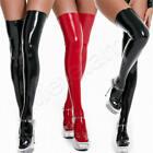 Womens PVC Latex Leather High Stockings Wet Look Shiny Thigh-High Socks Clubwear