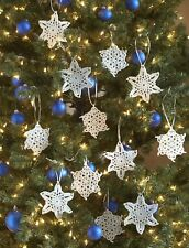 CROCHET PATTERN - 2 STYLES OF LACY SNOWFLAKES CHRISTMAS TREE DECORATIONS