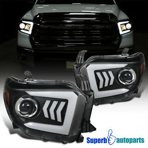 For 2014-2021 Toyota Tundra Sequential Signal LED Bar Black Projector Headlights