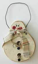 Hand Painted Wood Snowman with Scarf Christmas Ornament Signed Wire Hanger