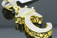 10K Yellow Gold .50 Ct Real Diamond King Crown Initial Letter C Alphabet Pendant