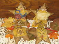 4 Appliqued Stars Autumn Home Decor Bowl Fillers Fall Wreath Making Accents
