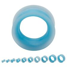 PAIR-Flexi Thin Pearl Blue Light Double Flare Silicone Ear Tunnels 06mm/2 Gauge