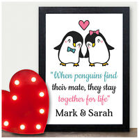 Personalised Penguin Couples Gifts Christmas Xmas Gifts for Her Him Girlfriend