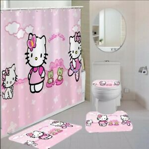 Hello Kitty Pink & White Bathroom Shower Curtain Toilet Seat Cover & Rugs Set