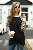 Shirt Crew Neck Casual T-Shirt Long Sleeve Ladies Pullover Blouse Womens Top