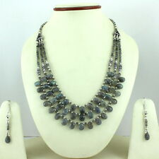 Necklace earrings natural labradorite gemstone faceted beaded handmade jewelry