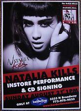 NATALIA KILLS Teddy Sinclair 2011 POSTER Gig Chicago IL. Concert CRUEL YOUTH