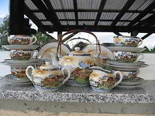 Service à thé JAPONAIS Complet 6 Pers.DOUBLE GEISCHA FOND DE TASSE