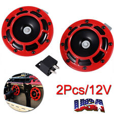 DUAL SUPER LOUD BLAST TONE 12V ELECTRIC GRILLE/GRILL MOUNT COMPACT CAR HORNS RED