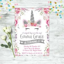 UNICORN BIRTHDAY PARTY SILVER GLITTER PERSONALISED INVITATION INVITES FLORAL