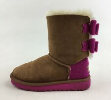 Ugg 1007933 Bailey Bow Wool Winter Boots Kid's Size 11, Chestnut Pink 3550