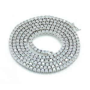 3mm 1 Row Real 925 Sterling Silver Bling Tennis Chain Necklace ANTI TARNISH