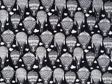 HOT AIR BALLOONS Fabric Fat Quarter Cotton Craft Quilting MONOCHROME