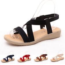 Ladies Womens Low Wedge Heel Slingback Strappy Gladiator Sandals Summer Shoes UK