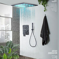 Shower Faucet Combo Set 12 inch LED Rainfall Ceiling Mounted Oil Rubbed Bronze