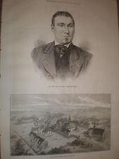 Late CHAMPION ROWER James renforth & orfani asilo Watford 1871 Old Print