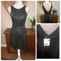 H&m Ladies Black Glittery Dress Size 8 Bnwt