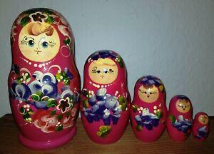 Matroschka Matruschka Lupenmalere Babuschka Russische Holz Puppen handbemalt rot