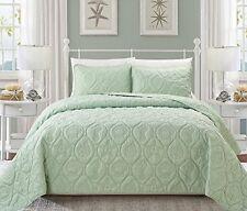 Seafoam Green Embossed Seashell Theme Bedspread Queen Set Classic Coastal