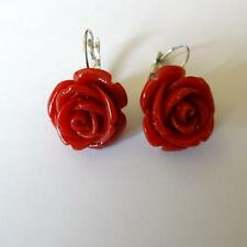 WOMEN'S EARRINGS SILVER TONE BIG  ROSE SIMULATED RED CORAL - 0.75 in. - 263 P
