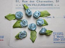 Vintage Antique French Rayon Blue Satin Lingerie Rosebuds Ribbonwork 8pcs